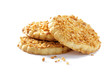 cookies with crushed nuts  on white background