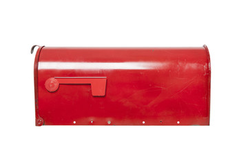 Red mailbox on white with flag
