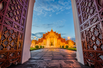 The marble temple or Wat Benchamabophit , Bangkok, Thailand