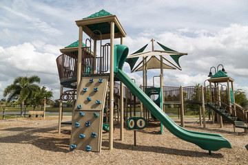 playground with slides and climbing frame