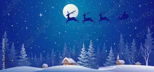 Santa sleigh above village