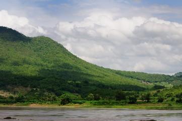 Mekong riverside mountain Laos.