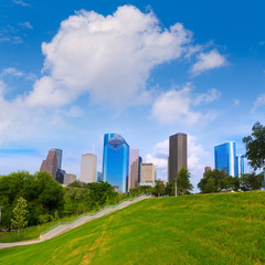 Huston skyline Eleanor Tinsley park Texas US