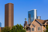 Huston skyline from wooden houses Texas US