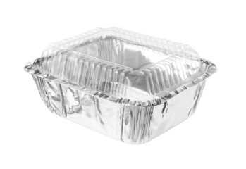 Rectangular Aluminium Foil Tray Clear Cover isolated on white ba