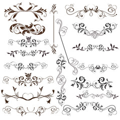 Vector set of calligraphic elements for design. Calligraphic vec