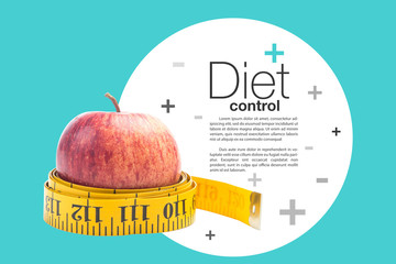 healthy diet concept , red apple and a measuring tape
