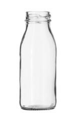 Glass Milk Bottle no Cap isolated on white background