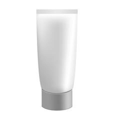 Grey cream tube isolated on white