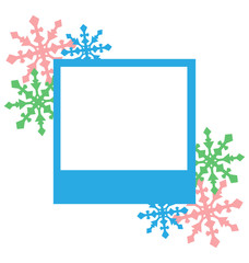 Blue photo frame with snowflakes isolated on white background