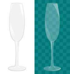Transparent isolated sparkling wine glass