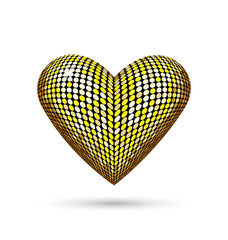 Golden heart with shadow isolated on white background