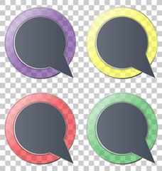 Four multicolred transparent glassy circle icons on grey backgro