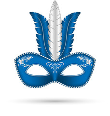 blue mask with feathers isolated on white background