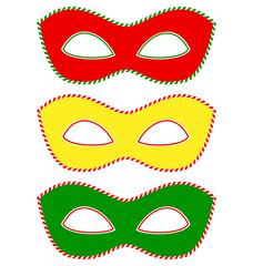 Three masks colored like traffic light isolated on white backgro