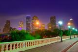 Houston skyline at sunset Sabine St Texas USA