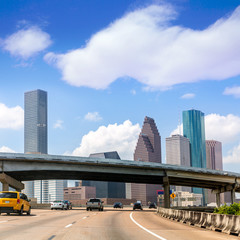 Houston skyline at Gulf Freeway I-45 Texas US