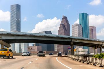 Houston skyline at Gulf Freeway I-45 Texas US