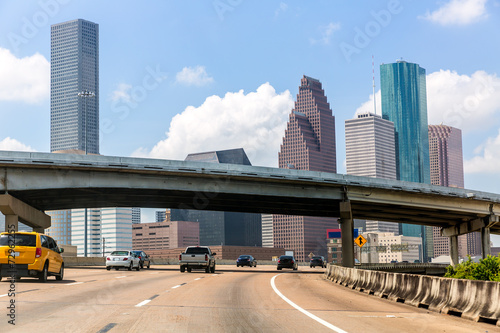 In de dag Texas Houston skyline at Gulf Freeway I-45 Texas US