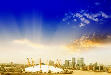 O2 Arena with beautiful sky, London