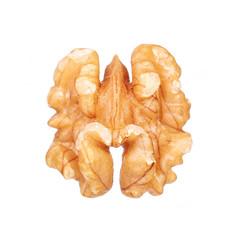 Kernel walnut isolated on white. Macro