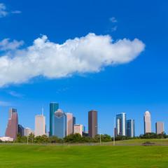 Houston skyline blue sky Memorial park Texas US