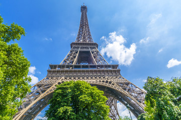 Wide view of Eiffel tower