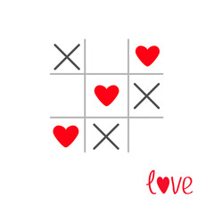 Tic tac toe game cross heart sign mark Love card Isolat