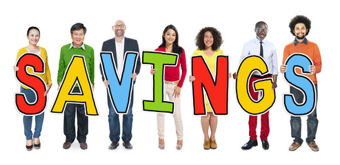 Multiethnic Group of People Holding Letter Savings