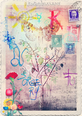 Graffiti and collage with alchemic tree