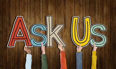 Ask Us Concepts Isolated on Background