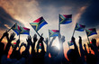 People Waving South African Flags in Back Lit - 72964297