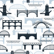 Seamless pattern of bridge silhouettes - 72964606