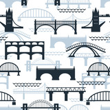 Seamless pattern of bridge silhouettes - 72964606