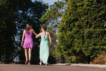 Teen Girls Walking Away Talking