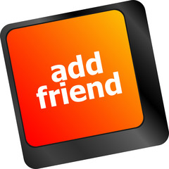 Keyboard with add friend button, social network concept