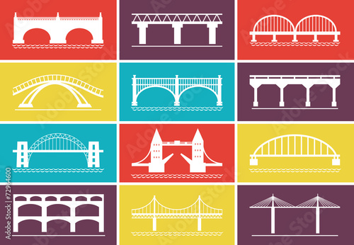 Modern Bridge Icons on Colorful Background Designs - 72964600