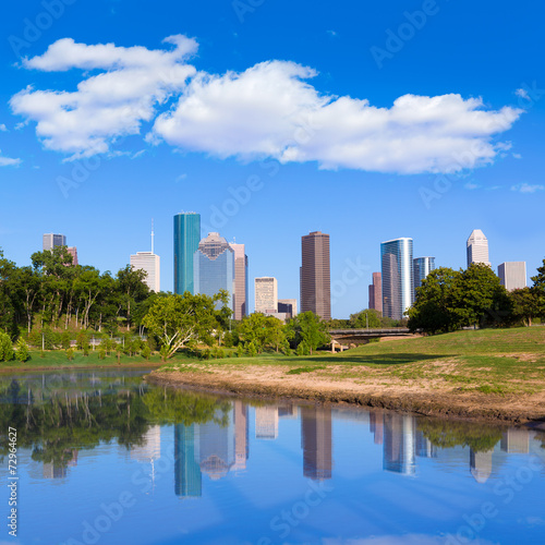 In de dag Texas Houston skyline from Memorial park at Texas US