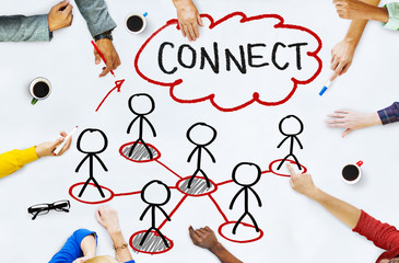 People in a Meeting and Connection Concepts