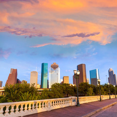 Houston skyline sunset Sabine St bridge Texas US