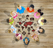 Multiethnic Group of Children with World Map