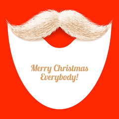 Santa Claus beard and mustache, Merry Christmas greeting card.