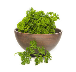 bunch of parsley in ceramic bowl
