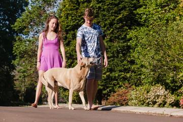 Teen Boy Girl Home Dog Relaxing