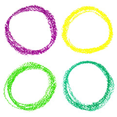Set of Mardi Gras circle spots of pastel crayon