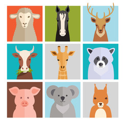Set of vector animal icons