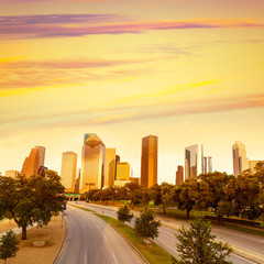 Houston skyline sunset from Allen Pkwy Texas US