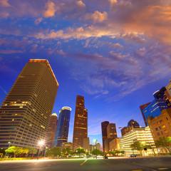 Houston Downtown skyline at sunset Texas US