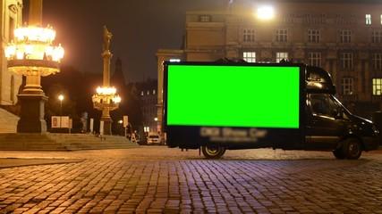 advertising car - green screen - night urban street