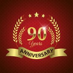 Celebrating 90 Years Anniversary, Golden Laurel Wreath & Ribbon